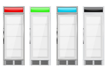 Display refrigerator. Merchandise fridge. Colored set