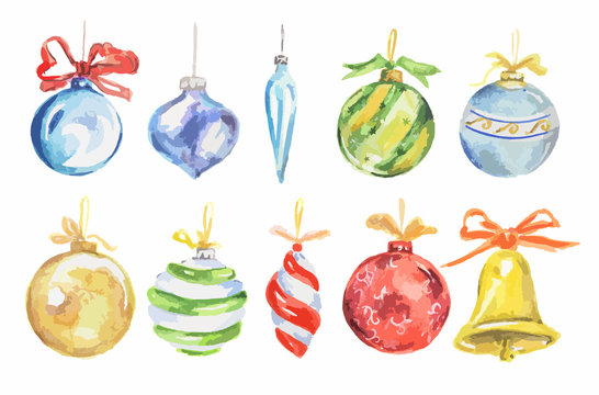 Watercolor christmas toys set. Bright and colorful toys for christmas tree. Wonderful retro toys.
