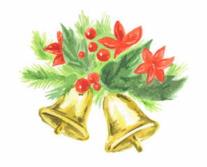 Watercolor christmas bells on white background. Symbol of merry christmas and new yaer.