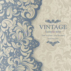 Wedding Invitation cards in an vintage-style blue