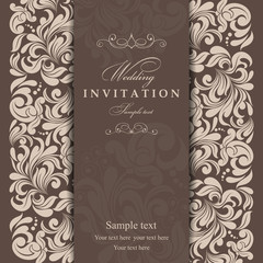 Invitation cards in an old-style beige and brown