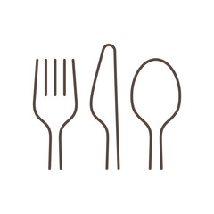 Linear silhouettes of a fork, spoon and knife on white background, isolated.