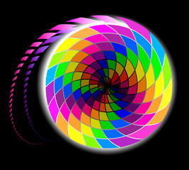 Abstract spiral in rainbow colors on a black background, vector image.