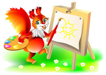 Illustration of squirrel painting picture, vector cartoon image.
