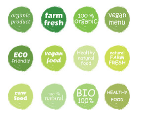 Vector set of healthy organic food labels