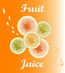 Vector fruit juice. Fruit on orange background. Citrus with drops of juice.