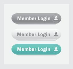 Member login.Vector web interface buttons set.