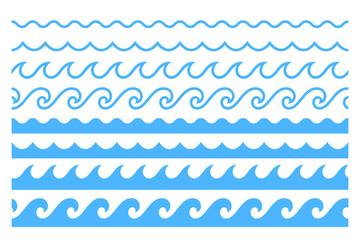 Blue line ocean wave ornament pattern
