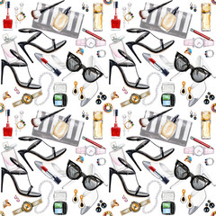 Seamless watercolor pattern with various female accessories.