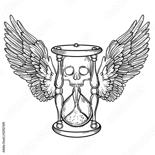 Decorative Antique Death Hourglass Illustration With Wings And Skull Hand Drawn Tarot Card Sketch