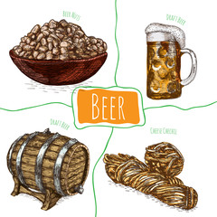 Draft beer and snack products illustration.