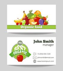 Organic food shop business card template
