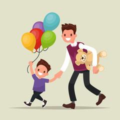 Children's festival. Father and son  have  fun. Vector illustrat