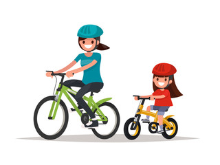 Cycling. Mother and daughter are riding bikes. Vector illustrati