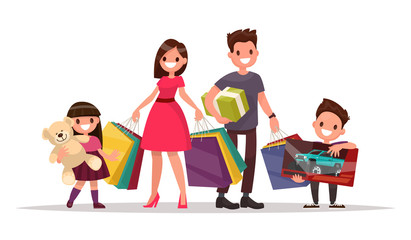 Happy family with shopping. Father mother, son and daughter are