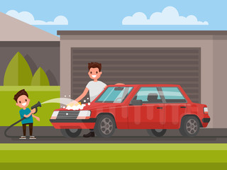 Washing of car outdoors. Father and son are washing car. Vector