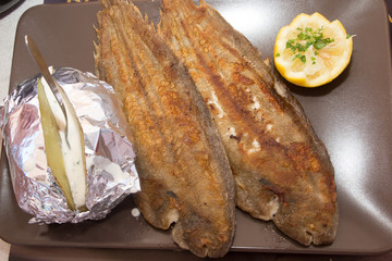 Grilled sole served with potaoes, a very Mediterranean recipe