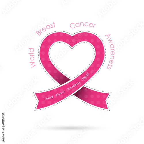 Pink Heart Ribon Signeast Cancer Awareness Logo Design Stock