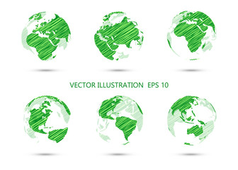 Set of vector ink drawing globe showing earth with all continent