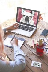 Illustrator drawing a French bulldog with a graphics tablet