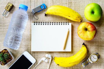 Healthy eating concept,  banana, apple, fruit and water bottle ,