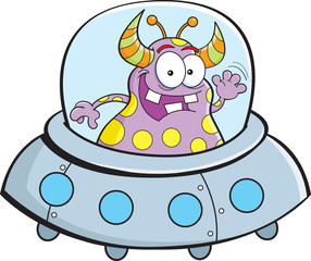 Cartoon illustration of an alien flying in a spacecraft.