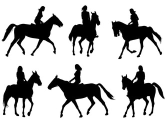woman riding horse silhouettes - vector