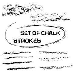 Vector chalk lines. Chalk hand drawn strokes. Vector hand drawn illustration