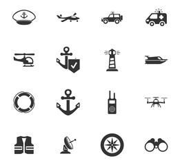 Coast Guard icons set