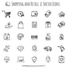 Hand drawn shopping icons.