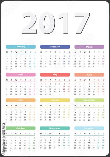 Calendar 2017 Starts On Monday Calendar 2017 Organizer 2017