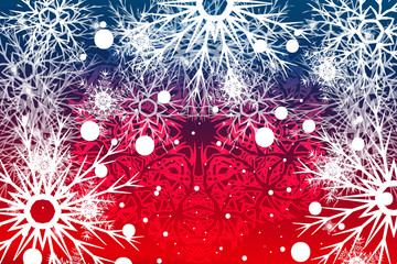 snowflake on red, blue background. Christmas vector pattern design for geeting card