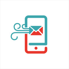 mail and message icon on smartphone screen vector illustration