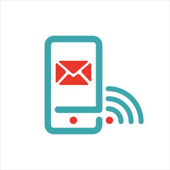 Wi-fi and message icon on smartphone screen vector illustration.