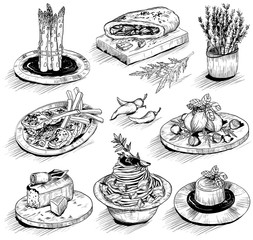hand drawn illustration with Mediterranean food
