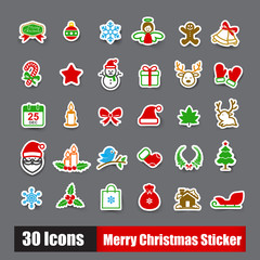Collection of 30 sticker merry christmas icons set vector illust