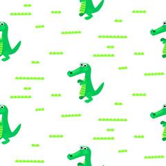 Crocodile green and white seamless pattern vector. Cartoon fun reptile print.