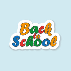 Back to school sticker with shadow isolated on blue background.