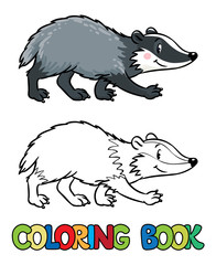 Coloring book of little funny badger