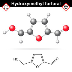Hydroxymethylfurfural chemical structure and model