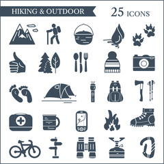 Hiking and camping icons. Vector set of outdoor symbols.