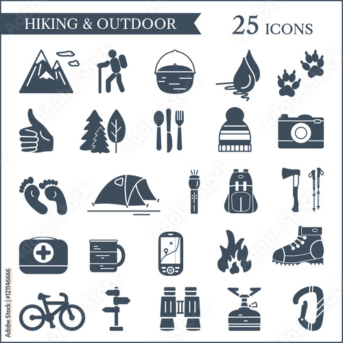quothiking and camping icons vector set of outdoor symbols