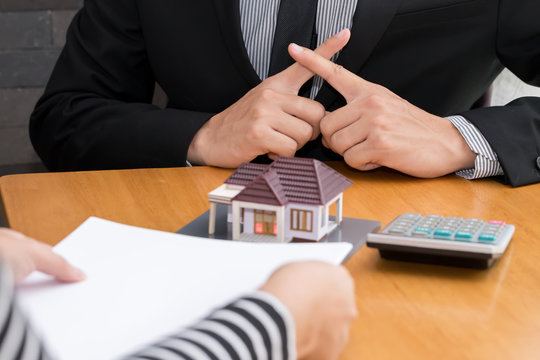 Banks refuse loans to buy homes. Real Estate concept