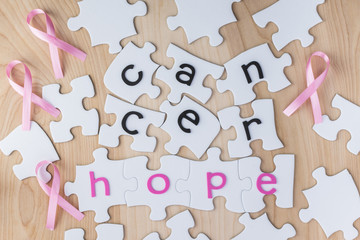 Breast cancer concept. Complete puzzle with  word for hope.