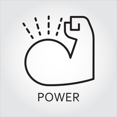 line vector icon power as muscle hand