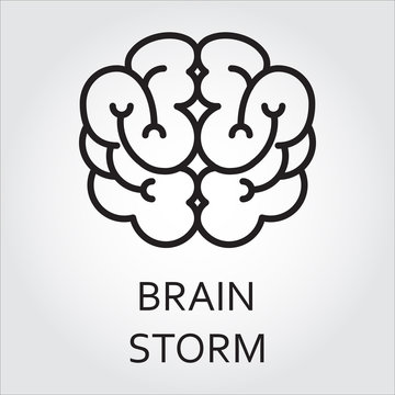 line vector icon brainstorm as brain on white