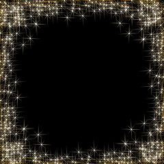 Vector happy New Year, frame with golden stars on the black background