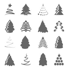 Vector set of Christmas trees on the white background, gray silhouette