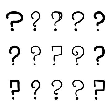 Doodle, hand drawn question mark set, collection isolated on white background.