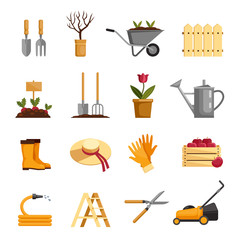 Garden equipment vector icons set. Plants, tools, work clothes, harvest. Fruits, vegetables, flowers cultivation. Gardening illustration